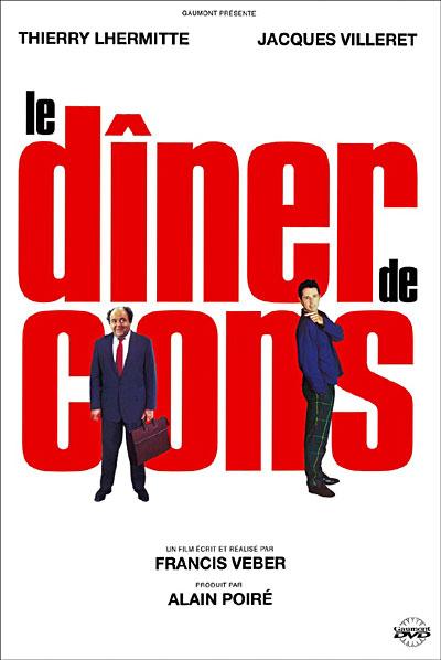 Le dîner de cons : Pierre Brochant, célèbre éditeur parisien, organise chaque mercredi avec des amis un « dîner de cons » : chaque organisateur amène avec lui un « con », intarissable sur un sujet précis, qu'il a déniché au hasard. Ensuite, les organisateurs se moquent des « cons » toute la soirée sans que ces derniers s'en rendent compte. À l'issue du repas, on choisit le champion.  Un ami, Jean Cordier, lui en a trouvé un fabuleux : François Pignon, employé du ministère des Finances qui se passionne pour les constructions de maquettes en allumettes. Pierre Brochant, victime d'un tour de reins à la suite d'un faux mouvement au golf, décide de le recevoir chez lui avant de l'emmener au dîner, afin de l'« étudier » un peu. Offusquée par le concept d'un dîner de cons et ne souhaitant pas en être complice en rencontrant l'intéressé, Christine, la femme de Pierre, décide de quitter les lieux sous le regard du docteur Sorbier qui semble amusé par le concept de dîner de cons...  Brochant est immobilisé chez lui pour recevoir Pignon et devra se résoudre à renoncer à son dîner... ----- ... Réalisation : Francis Veber Scénario : Francis Veber Acteurs principaux : Jacques Villeret, Thierry Lhermitte,  Francis Huster, Daniel Prévost Sociétés de production : Gaumont EFVE TF1 Films Production Pays d'origine : Drapeau de la France France Genre : Comédie Durée : 77 minutes Sortie : 1998